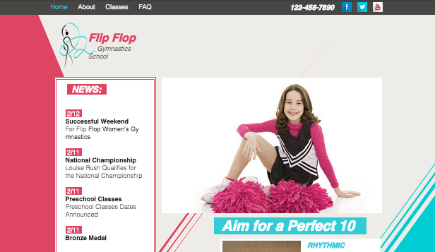 Sport & Recreation website templates – Gymnastics School