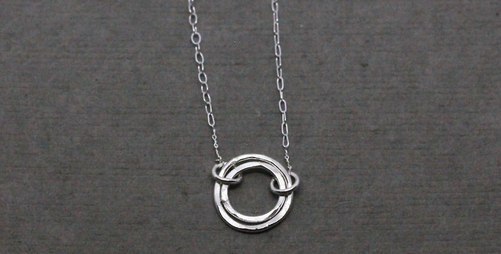 Small Silver Double Circle Necklace