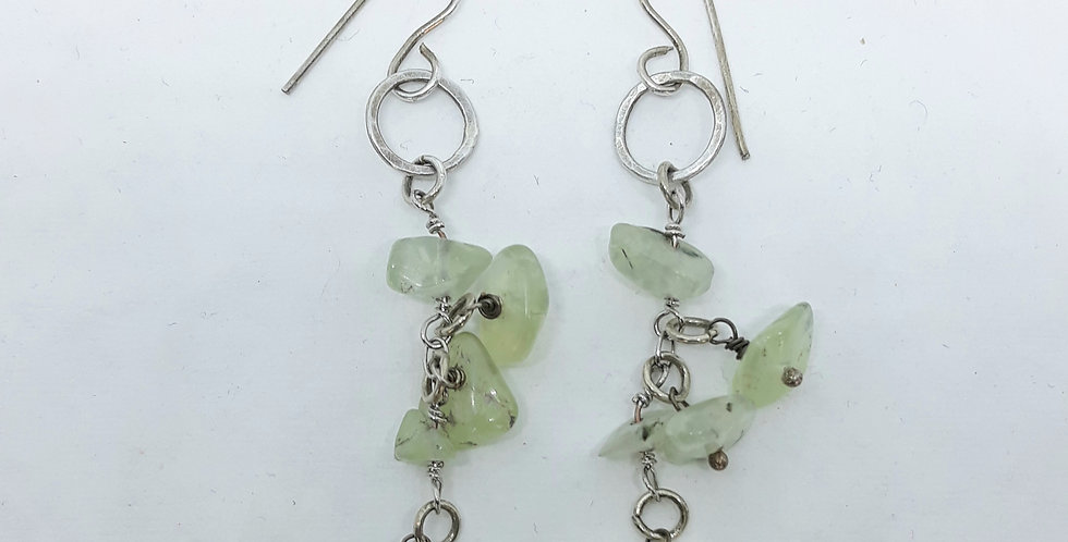 Prehnite Silver Chain Earrings