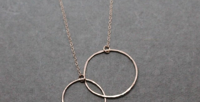 Rose Gold Double Circle Necklace