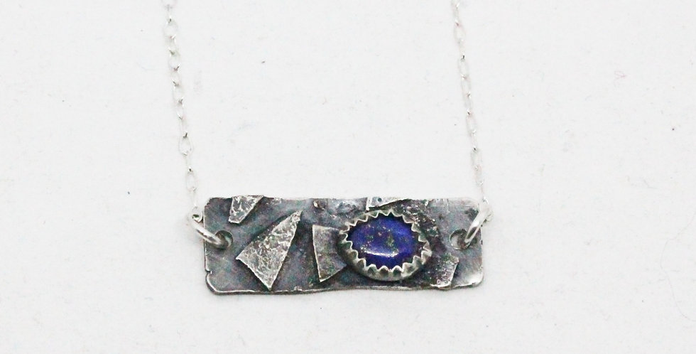 Sterling Silver Bar Necklace with Lapis