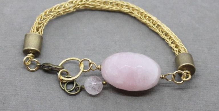 Woven Brass Bracelet with Rose Quartz