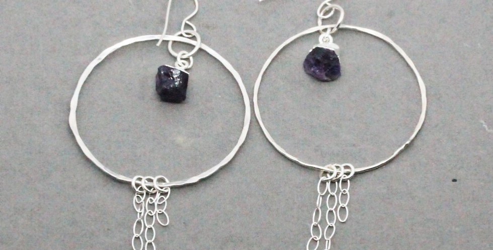 Silver Circle Chain Earrings with Amethyst