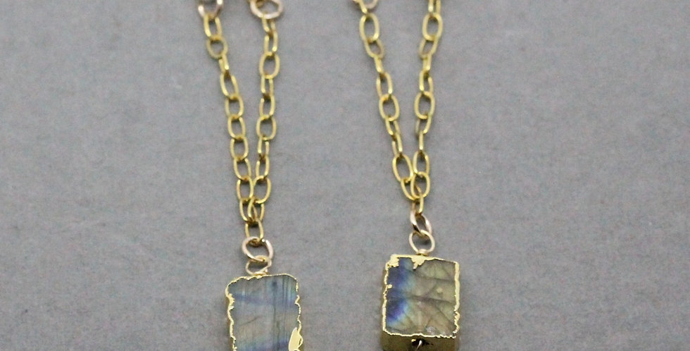 Labradorite Gold Chain Earrings