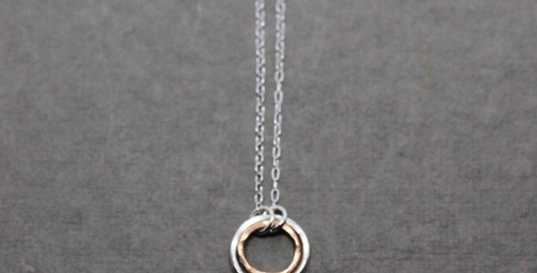 Silver Copper Circle Necklace