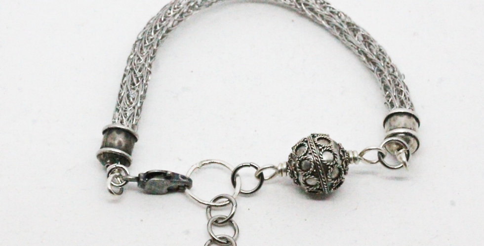 Woven Silver Bracelet with Silver Bead
