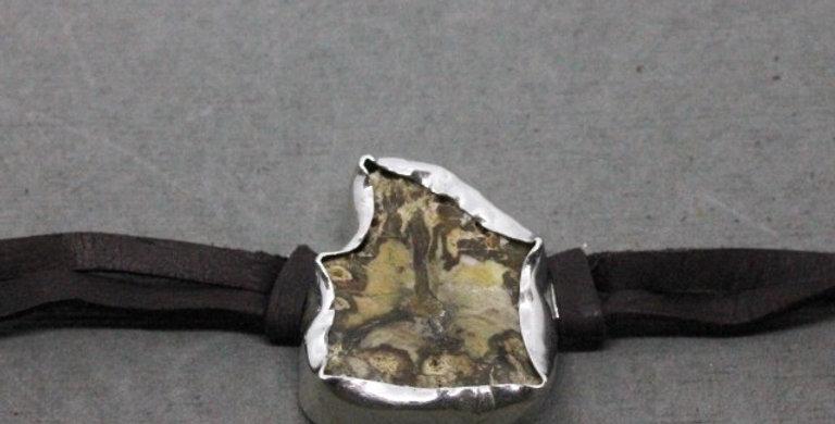 Leather Wrap Petrified Wood Bracelet