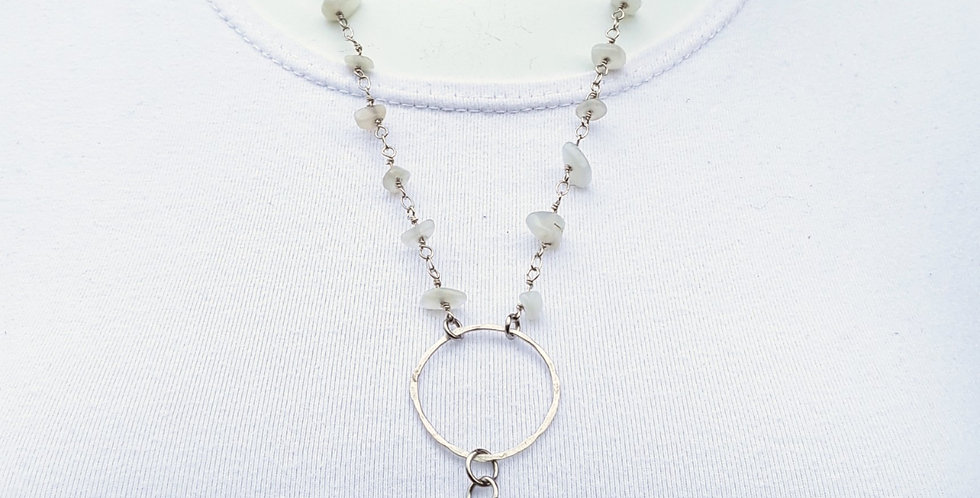 Silver Orthoceros Necklace with Moonstone