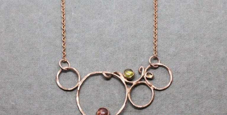 Copper Necklace with Sunstone and Peridot