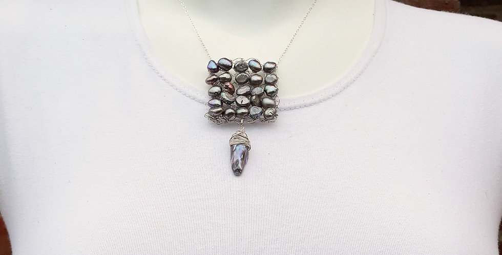 Hand Knitted Silver Necklace with Light Grey Pearls