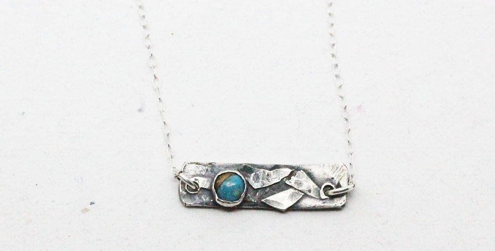 Sterling Silver Bar Necklace with Turquoise