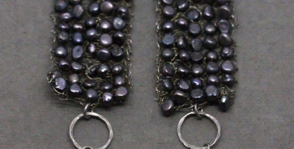 Knitted Gray Pearl Earrings in Silver