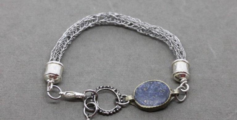 Woven Silver Lapis Lazuli Bracelet