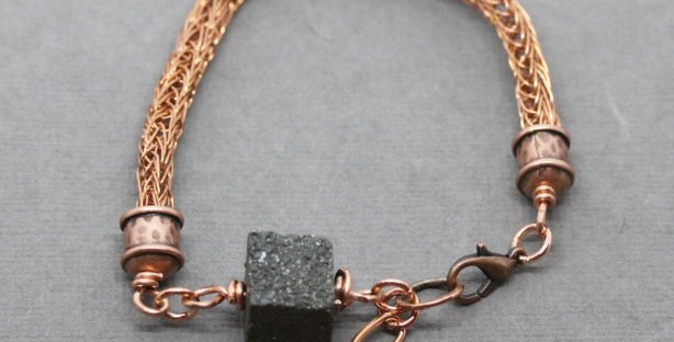 Woven Copper Bracelet with Pyrite