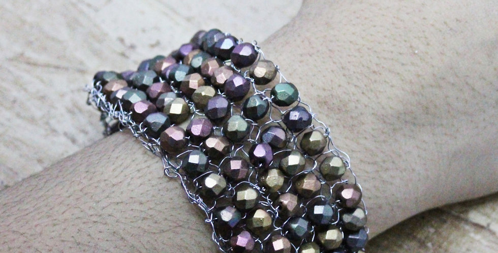 Hand Knitted Silver Cuff/Bracelet with Multi-Colored Czech Beads