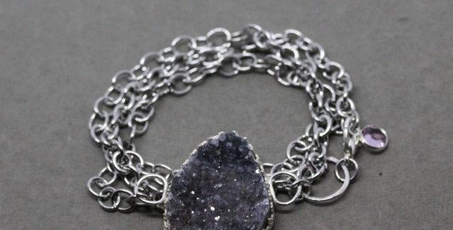 Silver Chain Wrap Bracelet with Amethyst Druzy