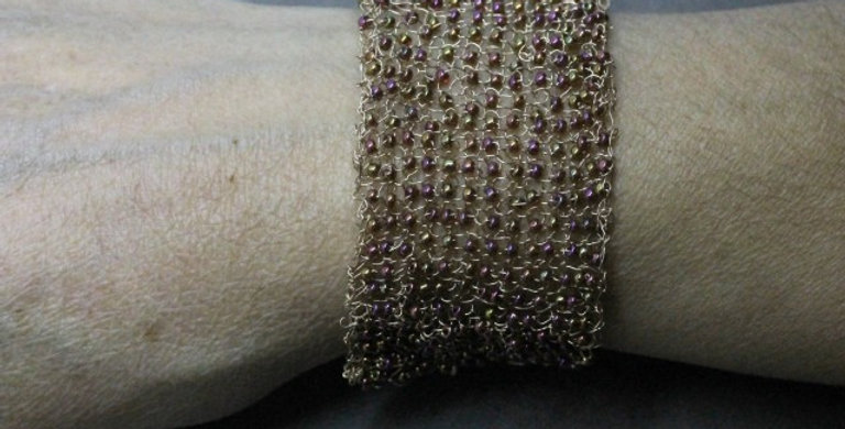 Knitted Gold Bracelet with Seed Beads