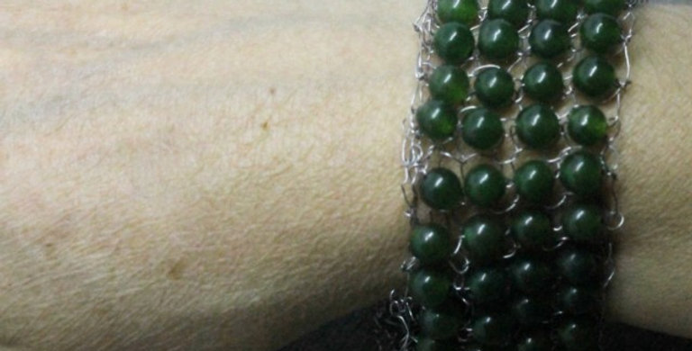 Hand Knitted Stainless Steel Bracelet with Green Agates