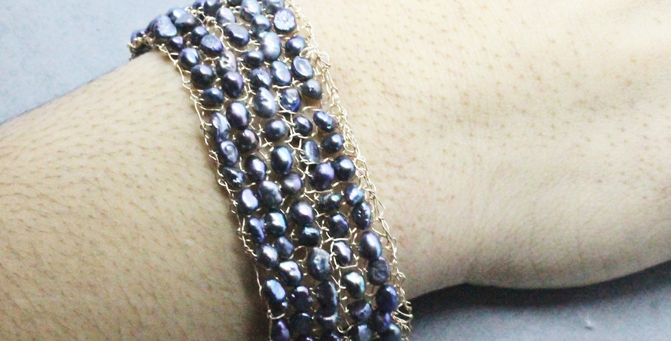 Hand Knitted Gold Cuff/Bracelet with Dark Grey Pearls