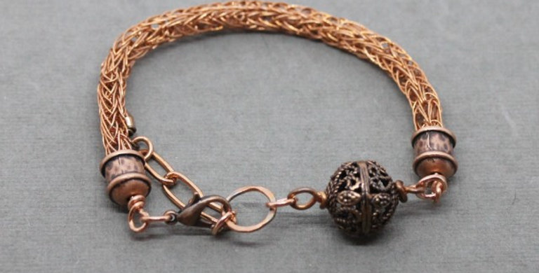 Woven Copper Bracelet with Copper Bead