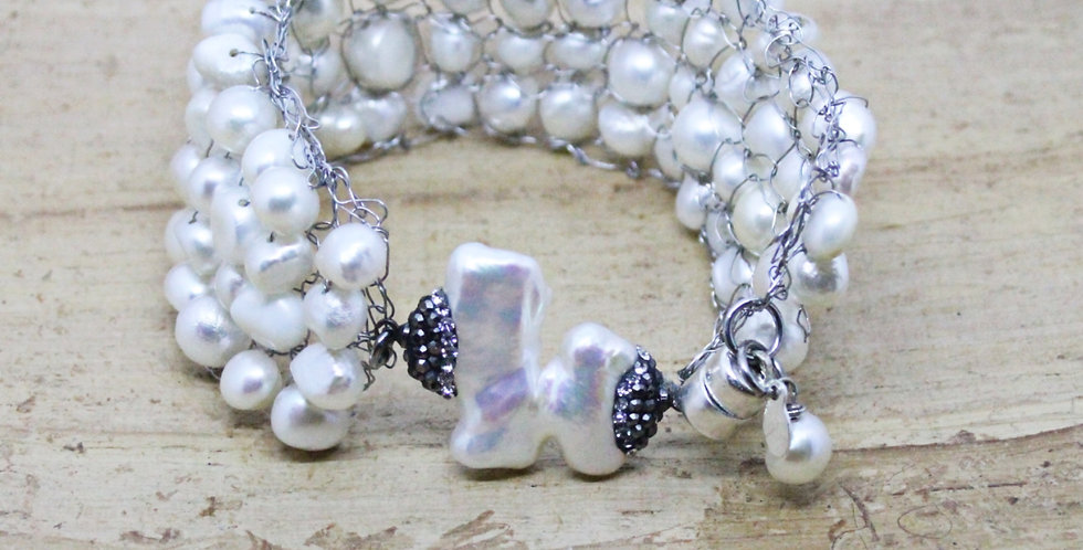 Hand Knitted Silver Pearl Bracelet/Cuff with Embellished Freshwater Pearl