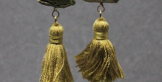 Gold Stick Pearl Tassel Earrings