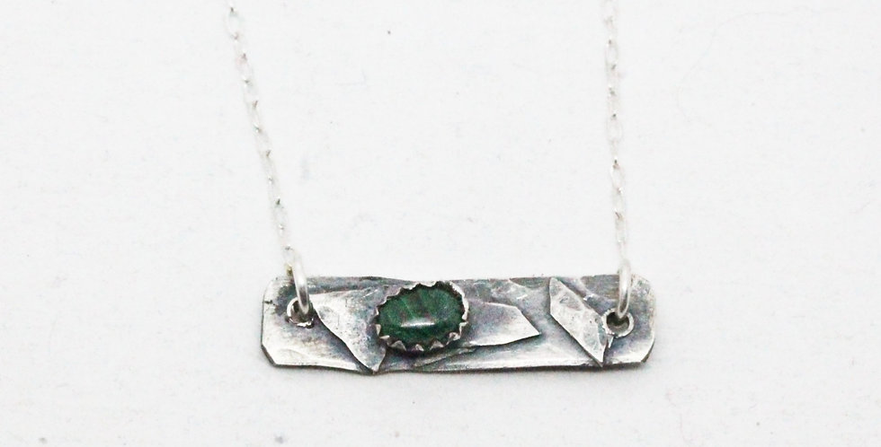 Sterling Silver  Bar Necklace with Malachite