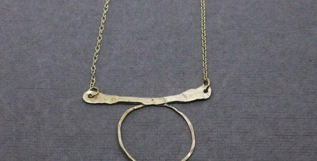 Brass Circle Bar Necklace