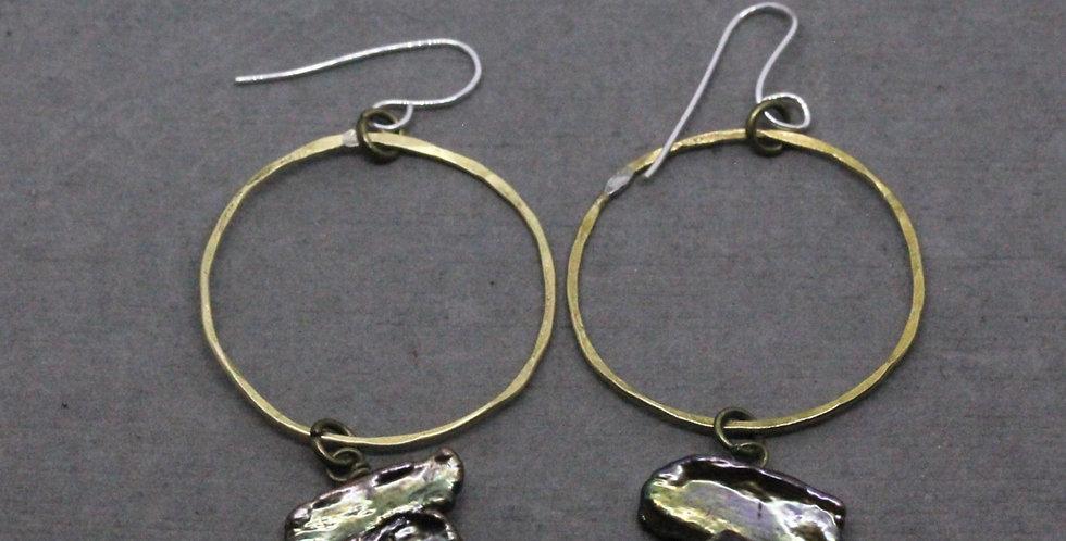 Brass Hoop Earring Stick Pearls