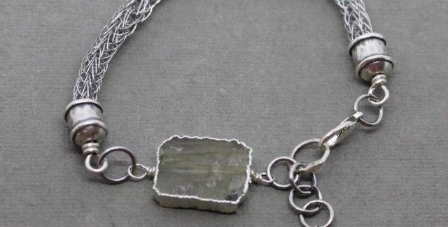 Woven Silver Labradorite Bracelet