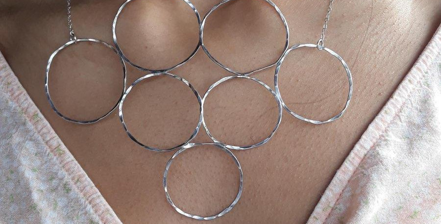 Seven Circle Silver Statement Necklace