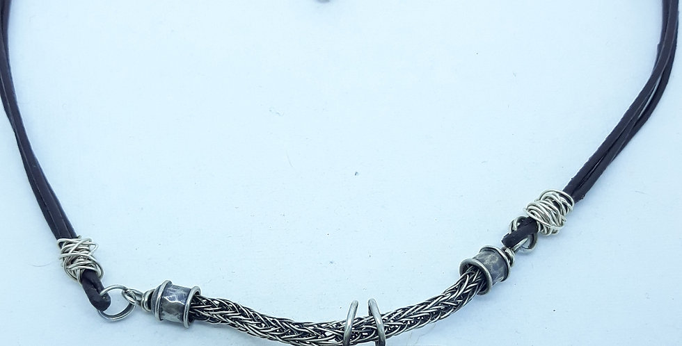 Clear Quartz Silver Pendant With Woven And Leather Chain