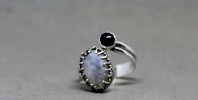 Silver Rainbow Moonstone and Amethyst  Ring