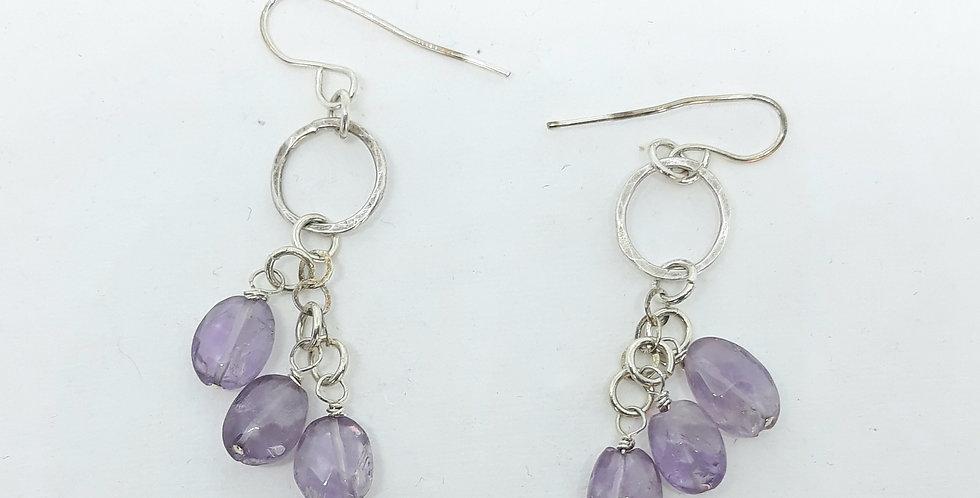 Triple Amethyst  Silver Amethyst Earrings