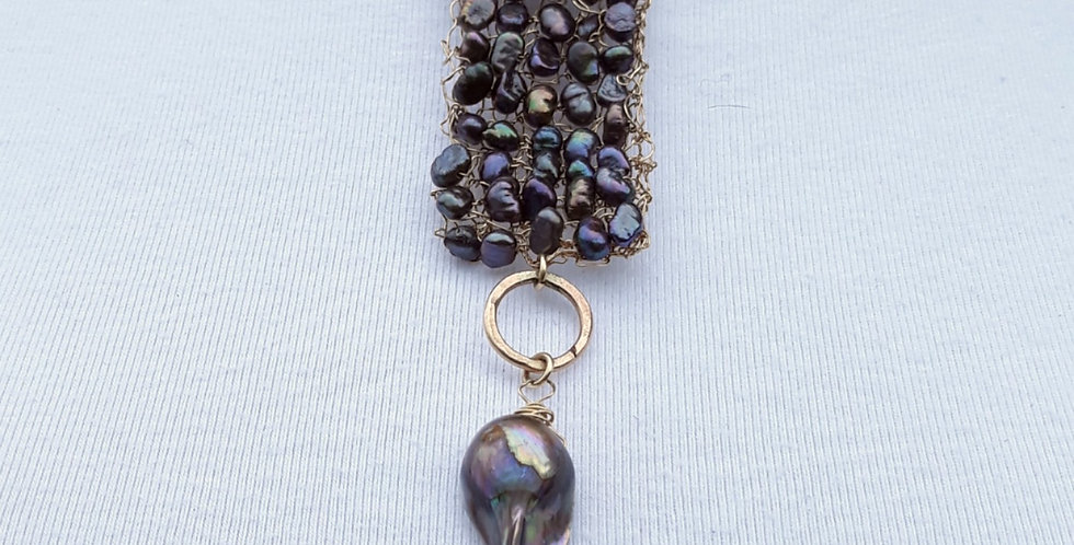 Hand Knitted Gold Necklace with Grey Pearls