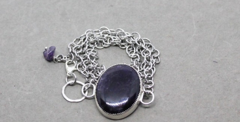 Silver Chain Wrap Bracelet with Amethyst