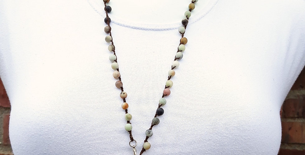 Crochet Boho Necklace with Agate Beads, Quartz, Pearl, and Ethiopian Cross