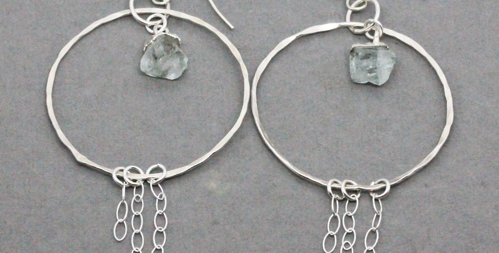 Silver Circle Chain Earrings with Aquamarine