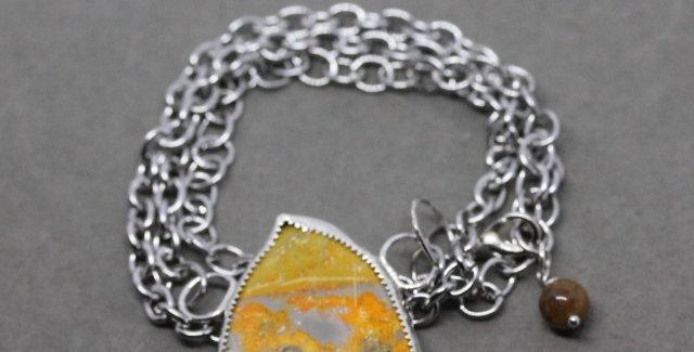 Silver Chain Wrap Bracelet with Bumblebee Jasper