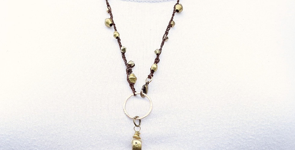 Crochet Boho Necklace with Metal Beads and Brass Ankh