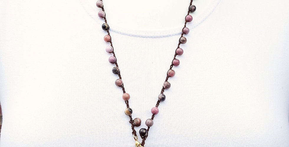 Crochet Boho Necklace with Rhodonite Beads with Coin and Horn Pendanr