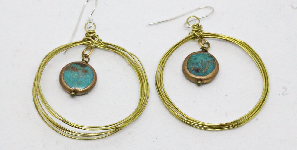 Seven Circle Gold Earrings with Turqouise