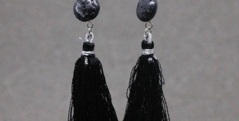 Black Lava Tassel Earrings in Silver