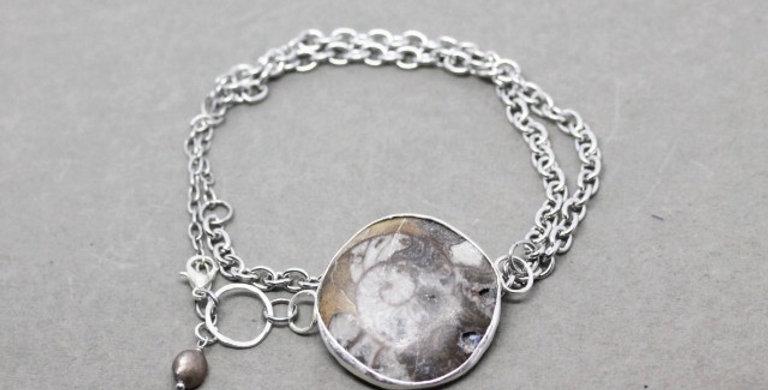 Silver Chain Wrap Bracelet with Ammonite