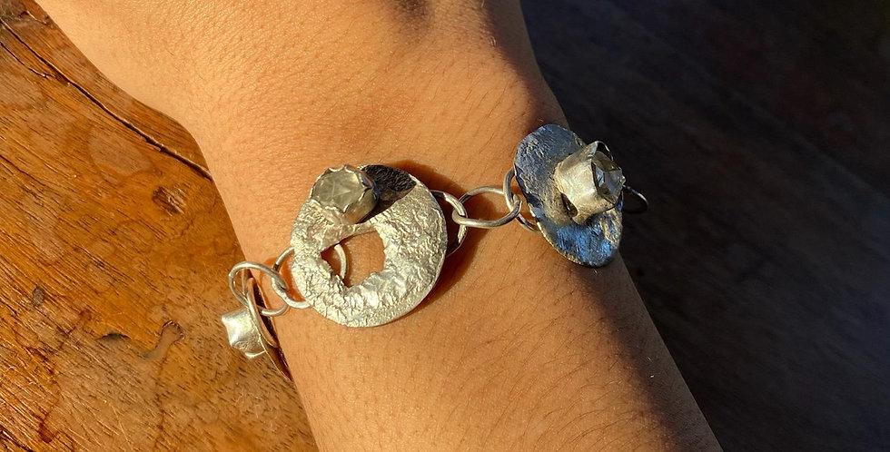 Fused Silver Herkimer Diamond Bracelet