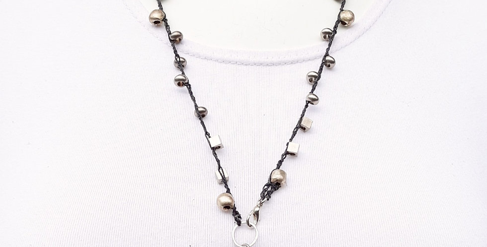 Crochet Boho Necklace with Metal Beads, Ethiopian and Pyrite Pendant