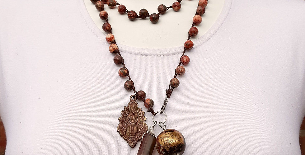 Crochet Boho Jasper Necklace with Pendants