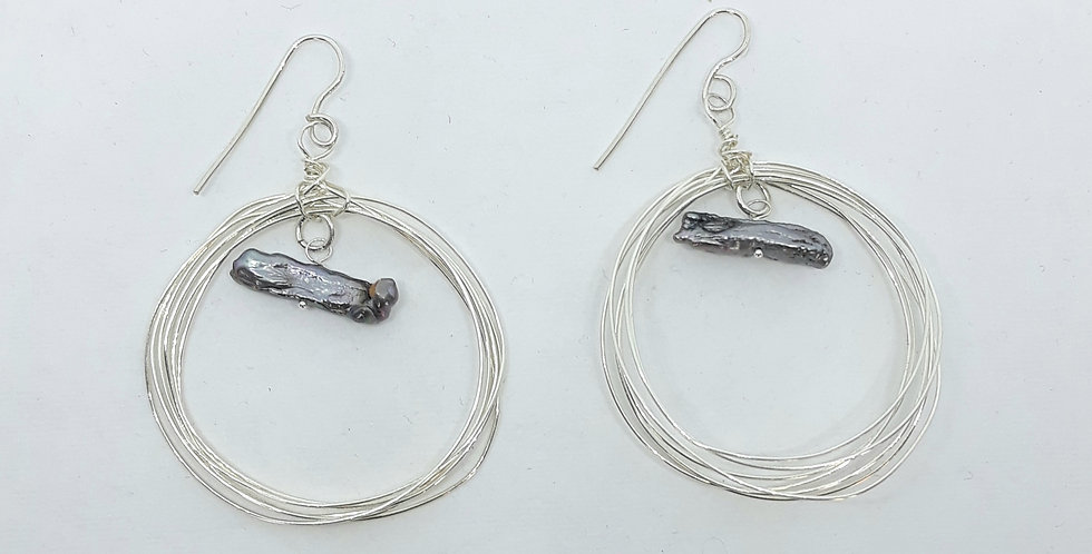 Seven Circle Silver Stick Pearl  Earrings