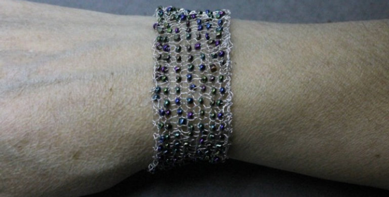 Hand Knitted Silver Bracelet with Seed Beads