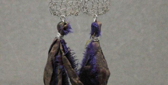 Hand Knitted Sari Silk Tassel Earrings in Silver